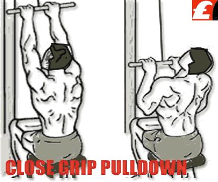 Close Grip Lat Pulldowns  Sırt Kanat Geliştirme